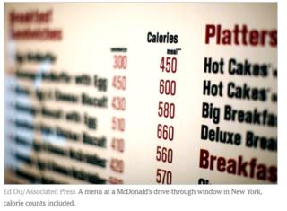 Calorie menus